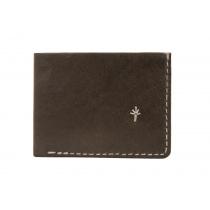 Te. warun mw kangaroo leather mens wallet - brown with natural stitching
