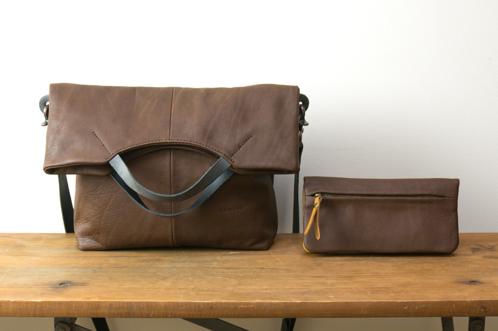 leather bag and leather wallet